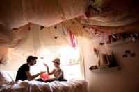 Draping ceiling fabric | Christmas light ideas | Pinterest