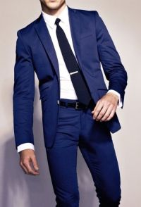 Blue suit with black tie | Style | Pinterest