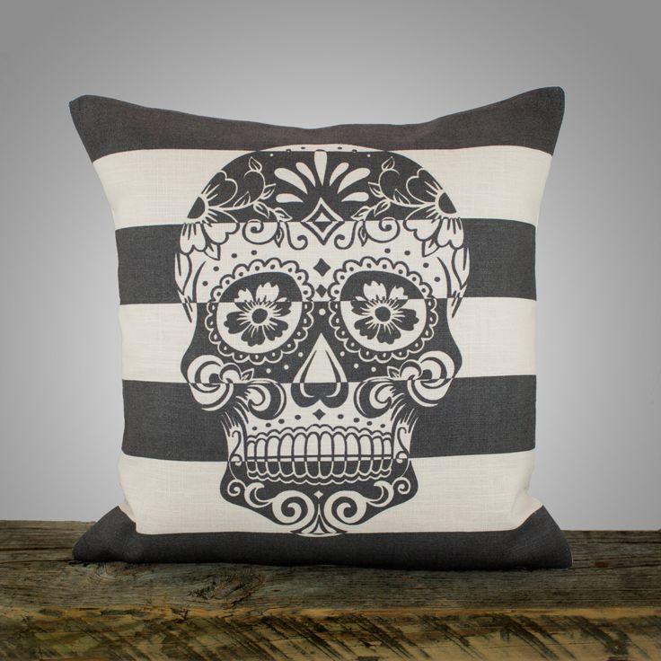 Sugar Skull Pillow, Black and White Stripe Pillow