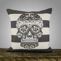Sugar Skull Pillow, Black and White Stripe Pillow