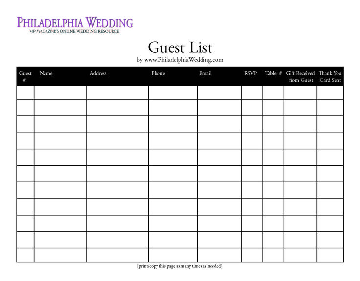 wedding guest list template - guest card template