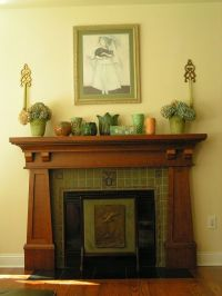 craftsman style mantle. | Bungalow Fireplaces | Pinterest