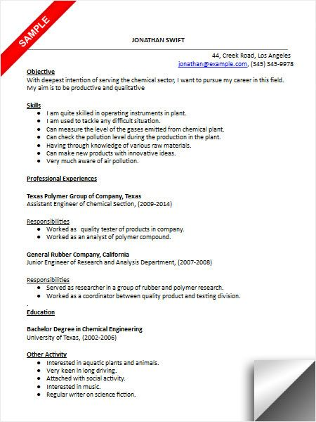 sample resume for industrial engineer graduate sample resume chemical engineering internship. Resume Example. Resume CV Cover Letter