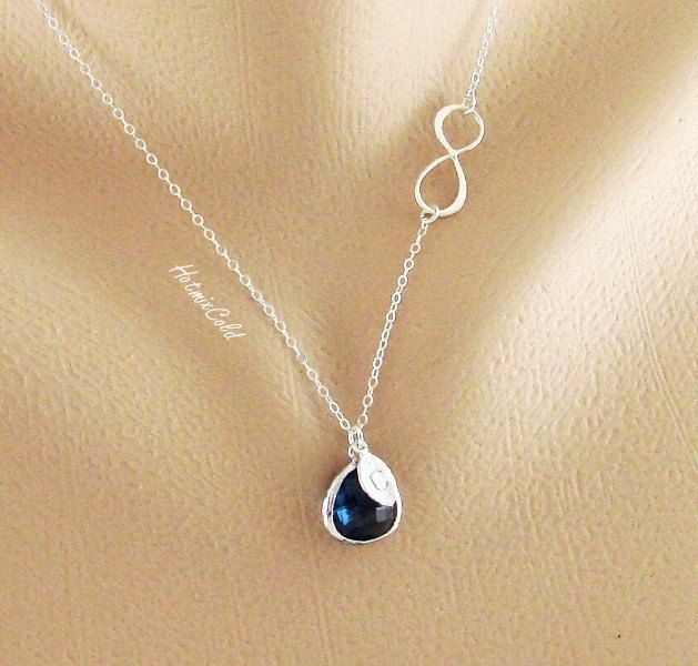 Initial Infinity Necklace Bezel Stone Infinity Jewelry