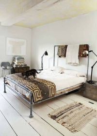 galvanized pipe bed, painted wood floors | Bedroom ...