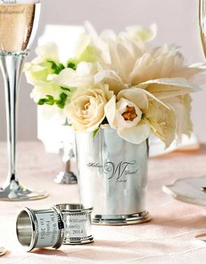 Use custom wedding cups as Unique centerpieces