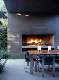 Outdoor fireplace, contemporary | Landscaping | Pinterest