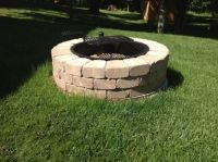 Fireplace. Santa Fe Stone Fire Pit Ring Kit with Cooking Grate