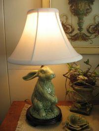 Green pottery bunny rabbit lamp spring garden shabby ...