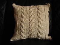 Cable-knit Reversible Throw Pillow - Cream
