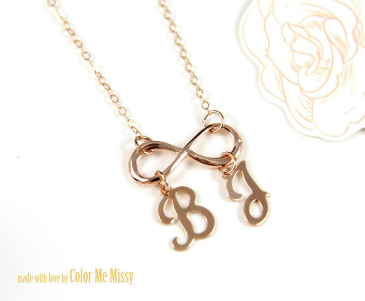 Personalized Infinity Necklace Letter Initial Rose