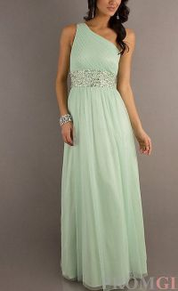 Sage Bridesmaid Dress Chiffon One Shoulder Prom Dress by ...