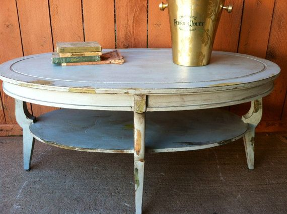 Faux chippy paint distressed cottage chic oval coffee table
