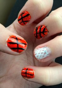 basketball nail art | did them myself nails | Pinterest