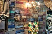 multi-colored pallet wall | Design Inspiration | Pinterest