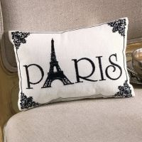 Paris embroidered accent pillow - black white french ...