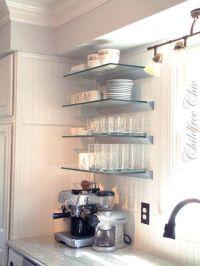 Glass shelves, WANT! | Kitchens | Pinterest