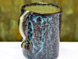 Stoneware Blue And Green Coffee Mug / Jill Fine   Glazedoverpottery