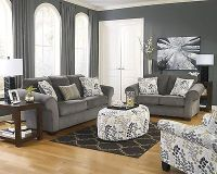 Ashley Makonnen Contemporary Charcoal Gray Plush Leaves