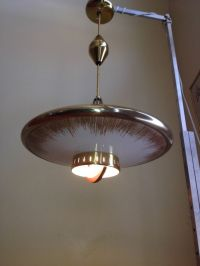 Vintage Mid Century 50S Hanging Pull Down Flying Saucer ...