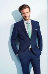 Blue suit mint tie (goom's men)   Wedding IDEAS   Pinterest