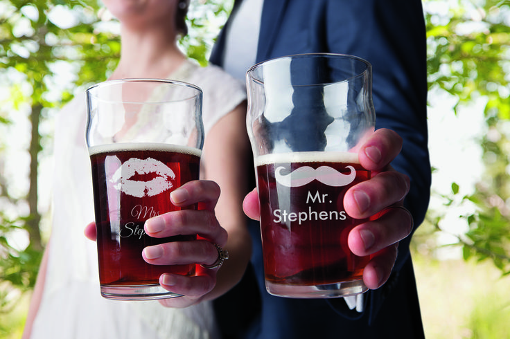 Something Brewed, personalized pint glasses