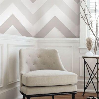 Wallpaper above a chair rail- Love this Ombre Chevron ...