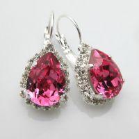 Pink Earrings Swarovski Crystal Teardrop Rose Earrings ...