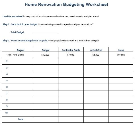 Reno budget sheet for the home pinterest