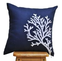 Navy White Pillow Cover, Throw Pillow Cover, White Coral ...