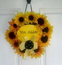 Sunflower Classroom Door Wreath | Classroom Decor ...