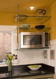 suspended glass shelf in kitchen | Kitchens | Pinterest