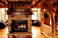 Log home fireplace   Home Decor-Log Cabins   Pinterest
