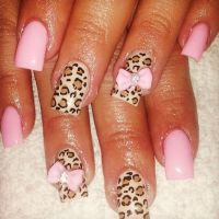 Bow and cheetah nail design | nails | Pinterest
