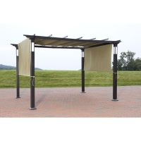 NEW 8 x 10 LED Lighting Steel Pergola Garden Patio Gazebo ...