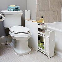 White Bathroom Floor Cabinet For Compact Slim Narrow ...