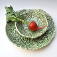 Celadon Green Lace Ceramic dinnerware Serving set ...