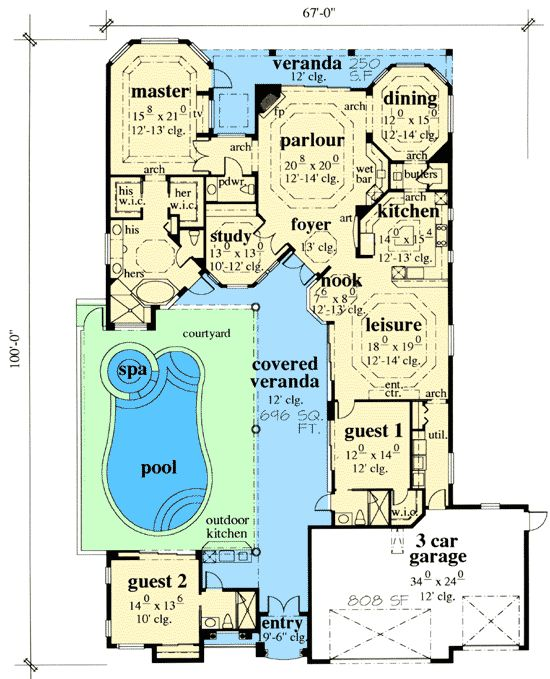 Mediterranean House Plans With Courtyard Pool   Floor Plans Web AppMediterranean House Plans With Courtyard Pool Mediterranean House Plans At Eplans Floor And Home Plans Courtyard