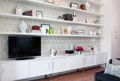 awesome wallpaper behind shelves | Beautiful Decor | Pinterest