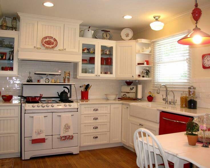.red and white farmhouse kitchen