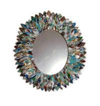 Turquoise, teal, blue and white Mirror, Leather Feather ...