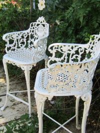 Vintage Victorian White Ornate Wrought Iron Chair Indoor ...