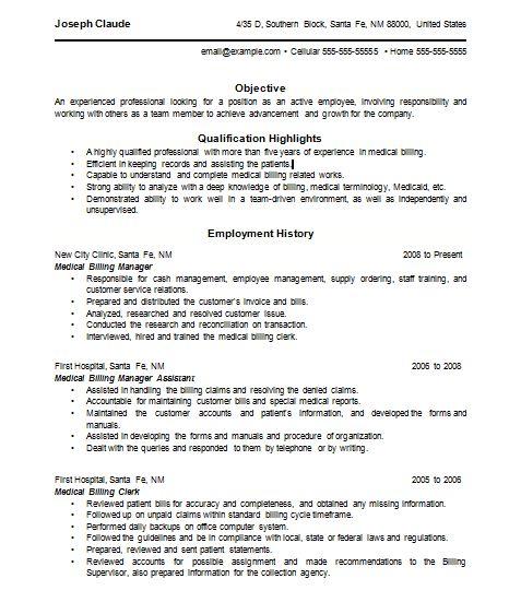 Insurance Billing Resume Sample Medical Billing Resume Medical Billing Resume Medical Billing Resume Resume Examples Resumes Pinterest