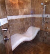 Steam shower with curved seat