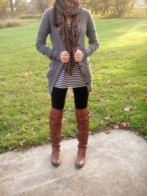 Leggings + grey sweater + scarf + striped dress + boots