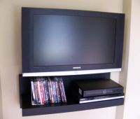 Floating AV component shelf - LCD/Flat TV stand in Black ...