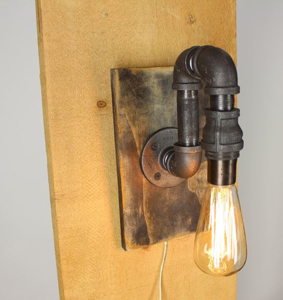 Black Pipe Wall Sconce Light
