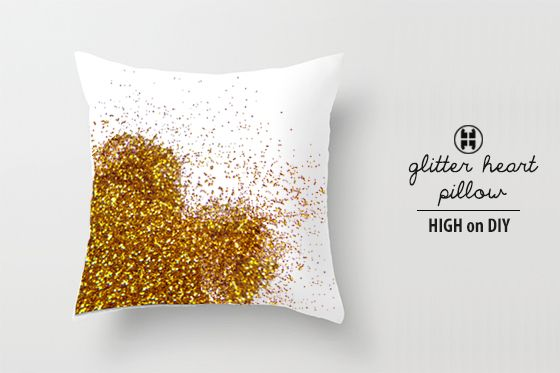 How cool is this DIY Glitter Pillow by High on DIY