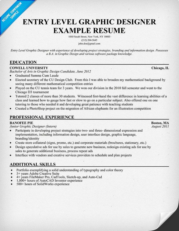 Resume For Entry Level Graphic Designer | Cover Letter For Business ...