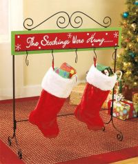Christmas stocking floor stand metal wood holder table ...